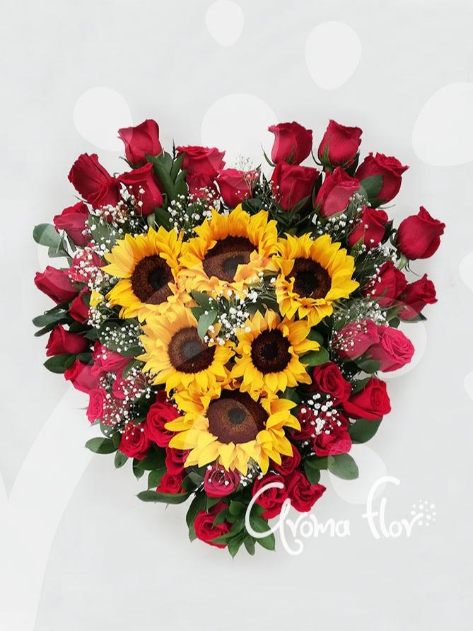 Amor entre girasoles y rosas