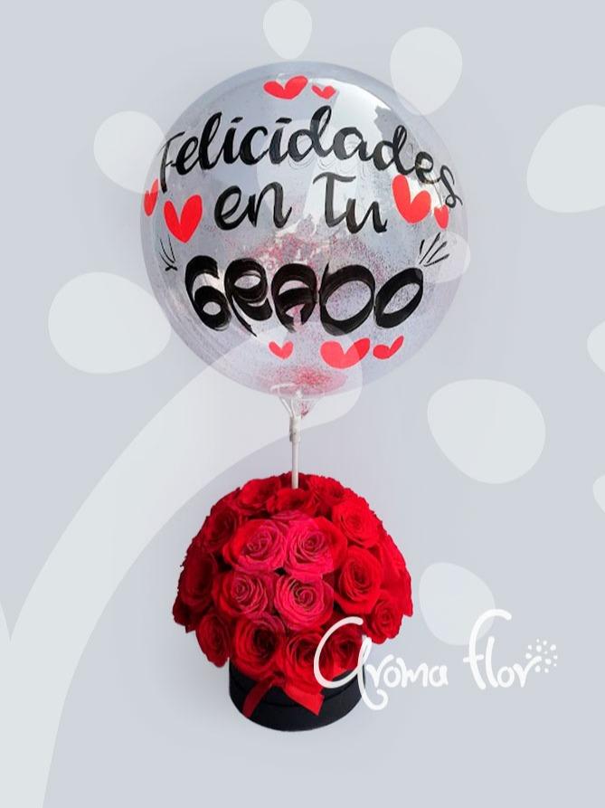 Caja de 36 rosas rojas con globo