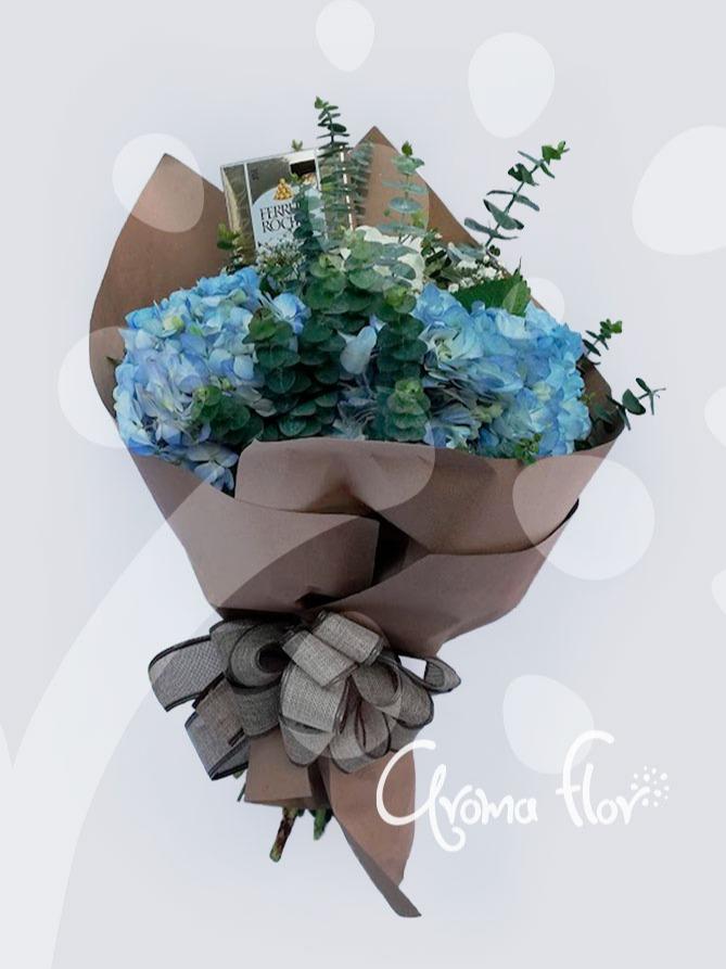 Bouquet de hortensias azules