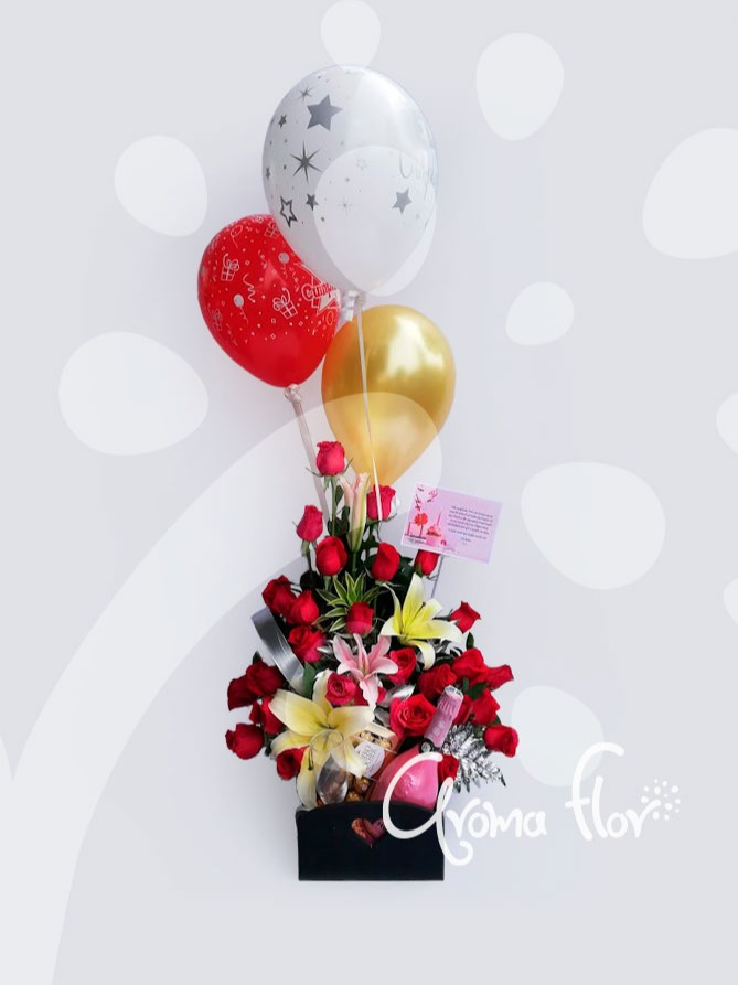 elegancia 24 rosas Rojas, vino, chocolates , globo