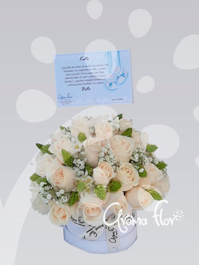 Caja Rosas Color Blancas
