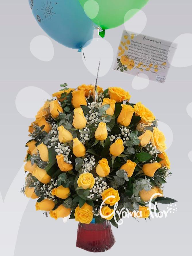 Jarrón De Rosas Amarillas.