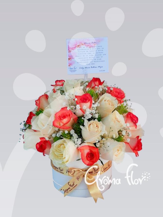 Caja De Rosas Lulu y Blancas