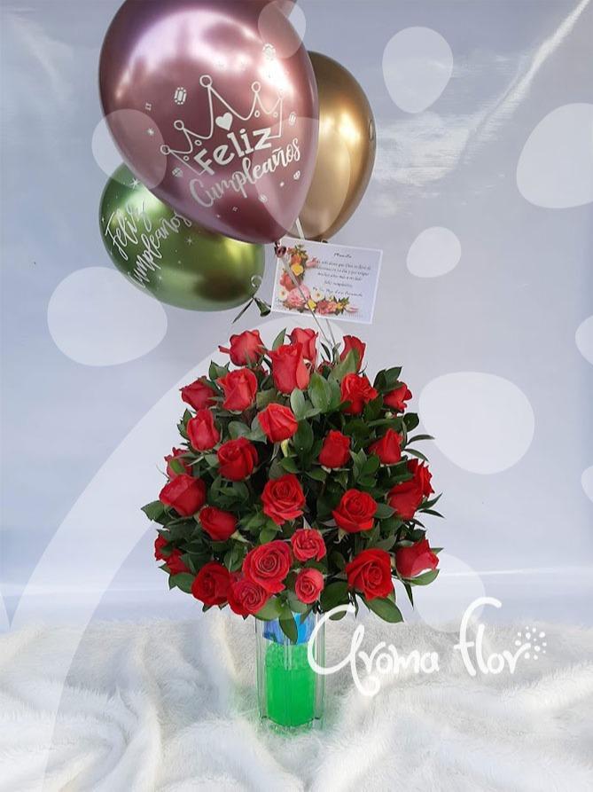 Jarrón de Rosas rojas
